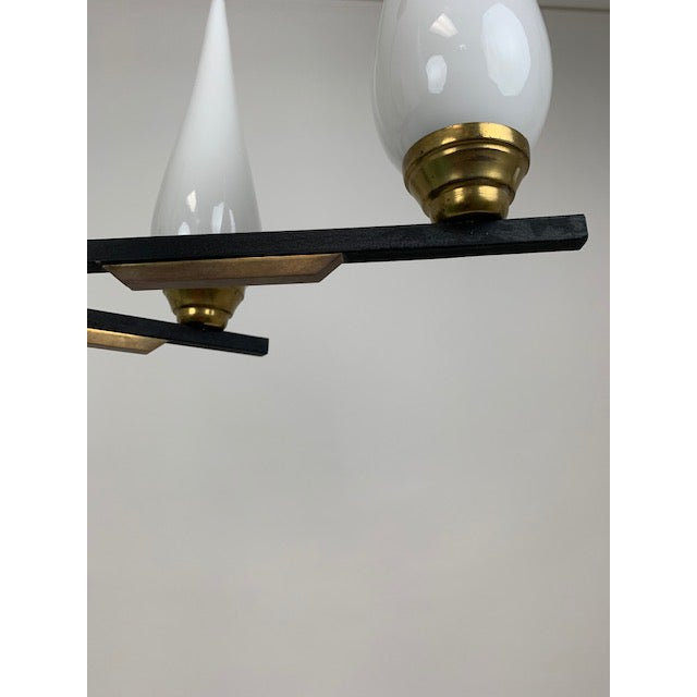 Italian Six Glass Light Chandelier For Sale In West Palm - Image 6 of 8