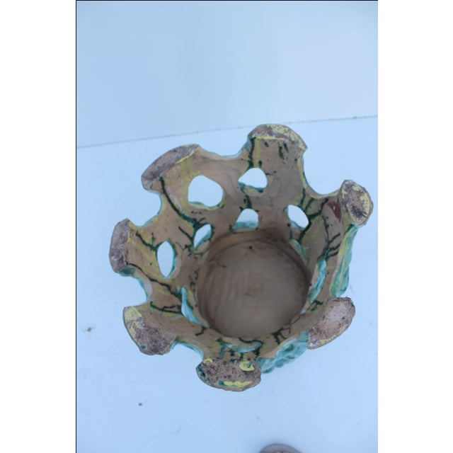 Vintage Textural Turquoise Garden Stool - Image 7 of 8