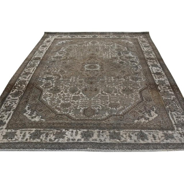 """Vintage Distressed Color Reform Silas Gray/Gray Wool Rug - 7'8"""" X 11'0"""" For Sale In New York - Image 6 of 7"""