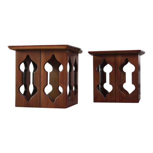 Pair of Vintage Moorish Style Walnut Side Tables with Carved Decoration For Sale
