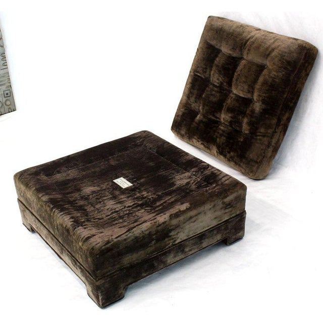 Large Square Deep Bronze Velvet Upholstery Tufted Upholstery Ottoman Footstool For Sale In New York - Image 6 of 11