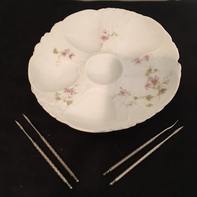 Ceramic Petite Hand Painted Oyster Plate With Silver Picks - 5 Pc. For Sale - Image 7 of 7