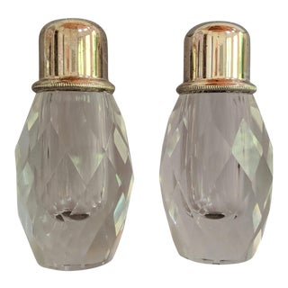 Vintage Lead Crystal Salt & Pepper Shakers – a Pair For Sale