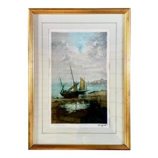 """20th Century Manuel Robbe Aka: Alphonse Lafitte Aquatint, """"Bateaux Échaués"""" For Sale"""