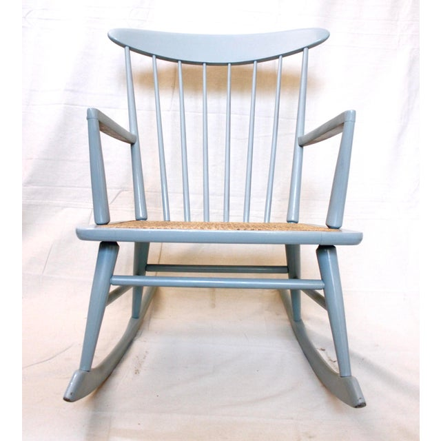 Blue Vintage Mid Century Danish Modern Rocking Chair For Sale - Image 8 of 9