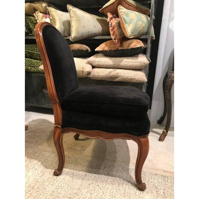 1980s Minton-Spidell French Armless Black Velvet Boudoir Chair For Sale In Detroit - Image 6 of 6