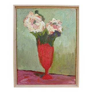 Roses in a Red Vase For Sale