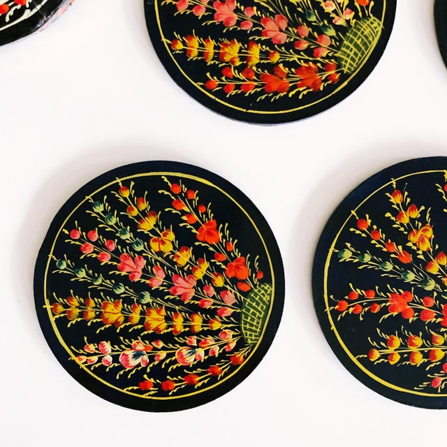1960s Hand-Painted Floral Coaster Set For Sale - Image 5 of 6