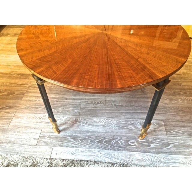 1950s Jules Leleu Documented, 1950s, Design Round Extendable Dining Table For Sale - Image 5 of 7