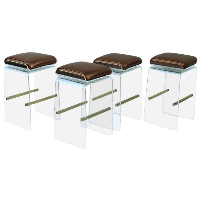 Swivel Acrylic and Brushed Brass Barstools by Charles H. Jones - Set of 4 For Sale