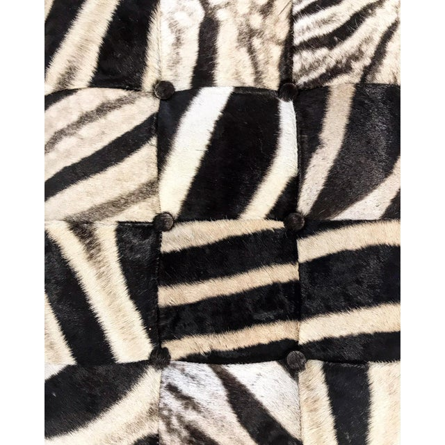 Vintage Milo Baughman Style Bench Restored in Patchwork Zebra Hide For Sale - Image 4 of 6