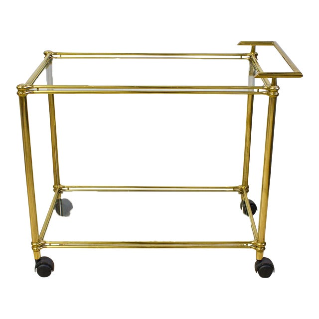 Italian Brass & Glass Bar Cart - Image 1 of 10
