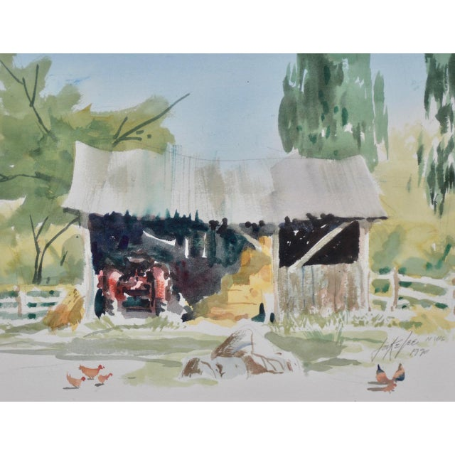 """A fine watercolor painting by noted American artist Jake Lee Though untitled, we are calling this """"Tractor in the Barn"""". A..."""