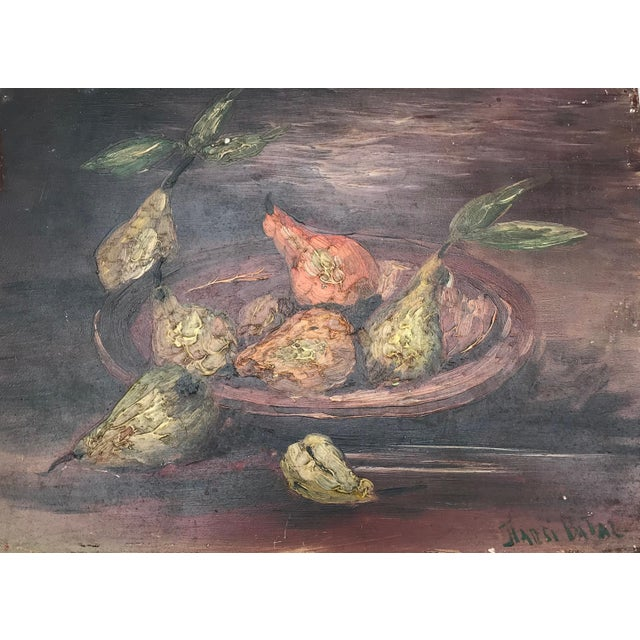 Gorgeous Old World French Still Life With Bowl of Pears. Oil on board signed. Purchased in the South of France. Please see...