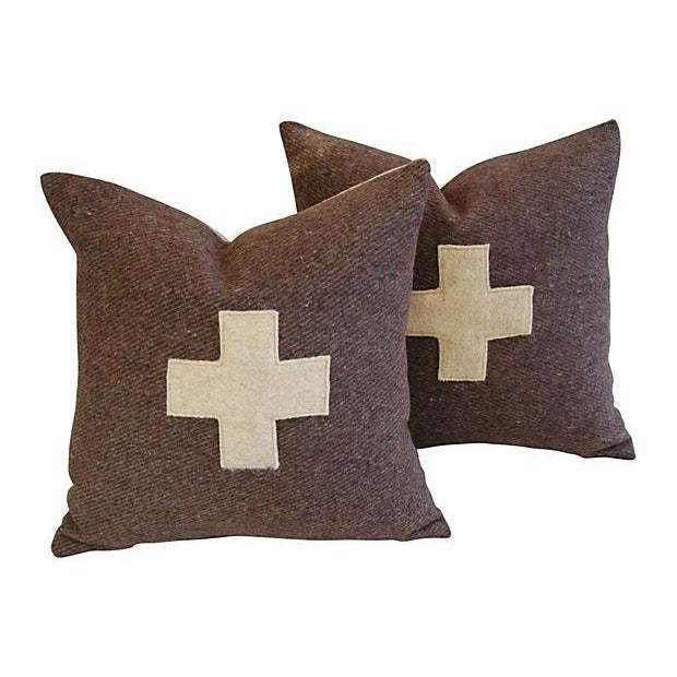 Swiss Wool Appliqué Cross Pillows - Pair - Image 4 of 6