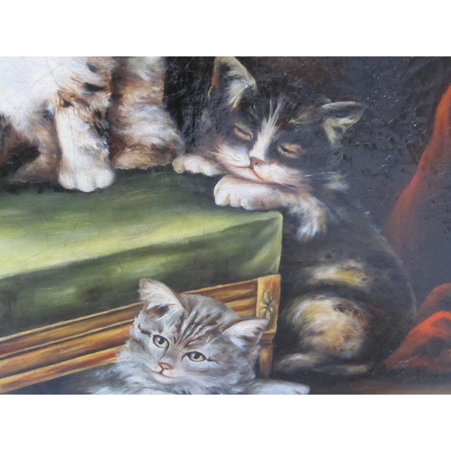 Traditional Late 19th Century Antique Henriette Ronner Style Signed Kitten Oil Painting For Sale - Image 3 of 11