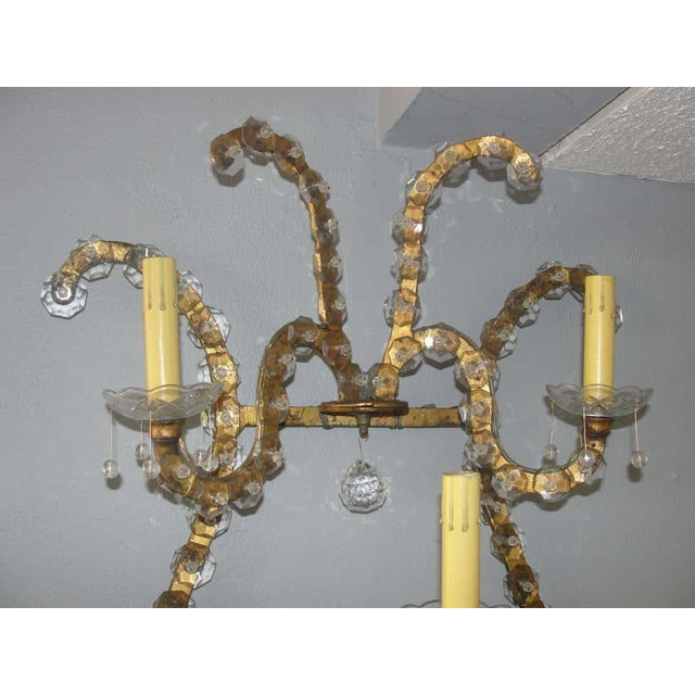 Early 20th Century Oversized Gilt Iron & Crystal Sconces Attrib. To Jansen - a Pair For Sale - Image 5 of 8
