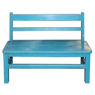 Vintage Blue Child's Bench For Sale