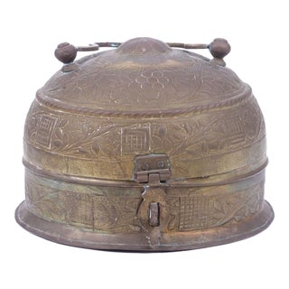 Indian Brass Repousse Chapati Box For Sale