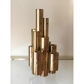 Vintage Gio Ponti-Style Modern Brass Candelabra, Holds 5 Candles For Sale
