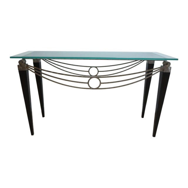 Neo Classical Metal Draped Federal Sofa Hall Foyer Table Server Console For Sale