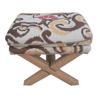 1980s Vintage Custom Upholstered X Bench For Sale