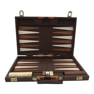 Vintage Backgammon Set in Leatherette Breifcase For Sale