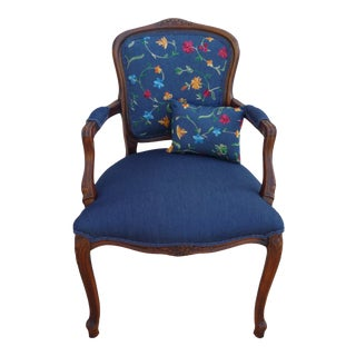 Bohemian Embroidered Denim Vintage French Armchair For Sale