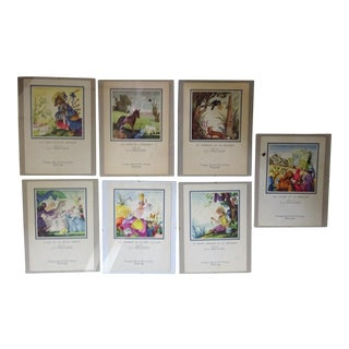 "French Line ""Liberte' "" July 1957 ""Fables"" La Fontaigne"" Menu Drawings- Framed Set of 7 For Sale"