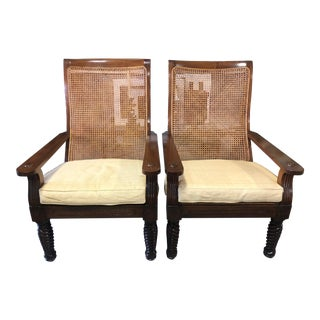 1990s Vintage Raffia Upholstered Cane British Khaki Chairs- A Pair For Sale