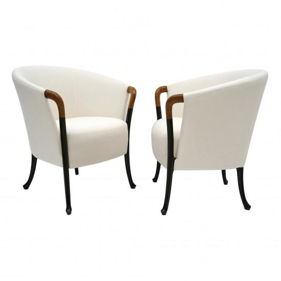 White Pair of Curved Back Armchair With Beech Wood Legs For Sale - Image 8 of 8