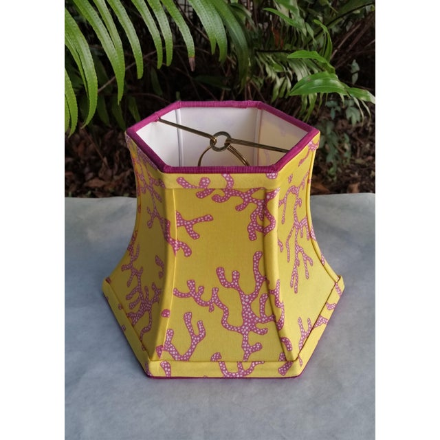 Boho Chic Lilly Pulitzer Fabric Lampshade Yellow Pink Coral Clip On For Sale - Image 3 of 11