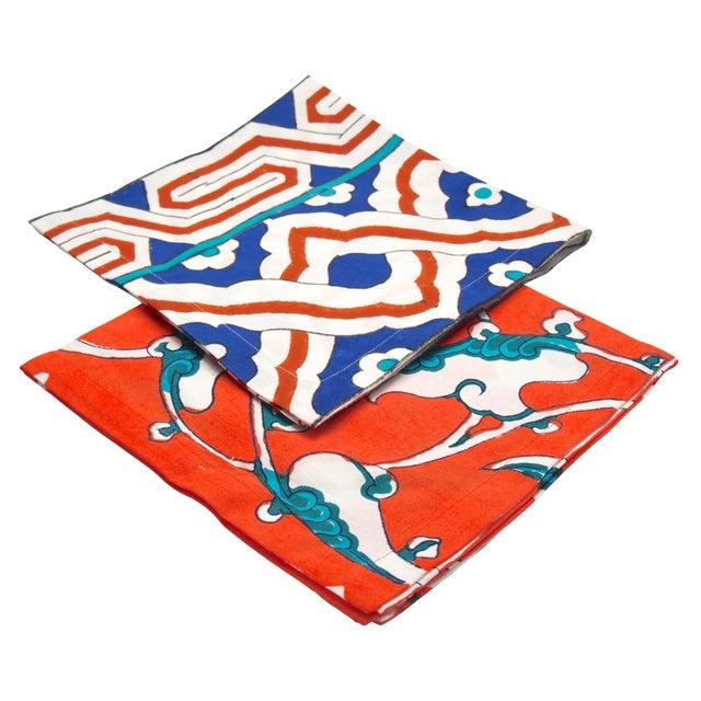 "Tamam's signature Ottoman tile-inspired hand blockprinted napkins. 19.5"" hand blockprinted cotton napkin with Tamam's..."