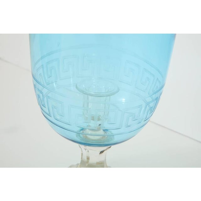 Pair of Blue Glass Hurricanes For Sale In New York - Image 6 of 8