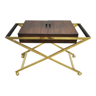 Brass X-Base Serving Cart For Sale