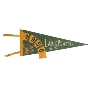 Vintage 1956 Lake Placid n.y. Felt Flag Pennant