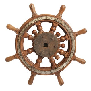 Vintage Teak Captain's Tiller Wheel For Sale