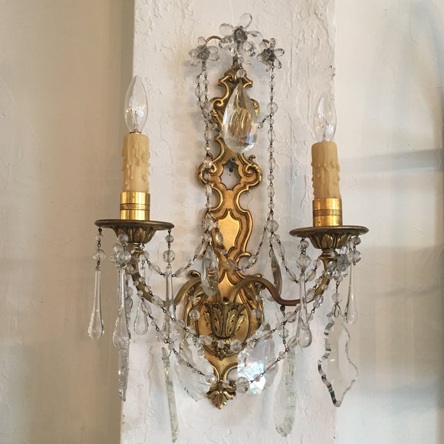 Bronze and Crystal Sconces - A Pair - Image 2 of 6