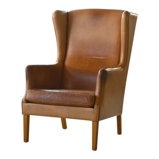 Danish Modern Kaare Klint Style Wingback Chair in Tan Leather With Patina For Sale