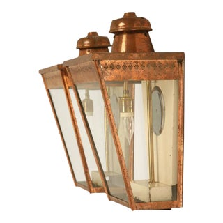 Antique English Copper Wall Lanterns - A Pair
