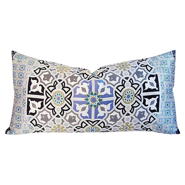 "Fabric Jumbo Italian Silk Andalusian Moorish Feather/Down Lumbar Pillow 37"" X 18"" For Sale - Image 7 of 8"