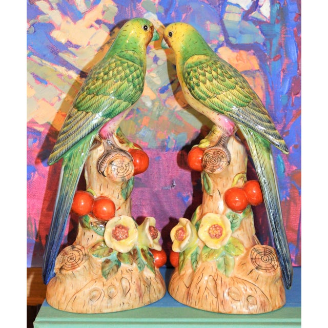 Ceramic 1980s Vintage Green Majolica Parakeets Figurines - a Pair For Sale - Image 7 of 8