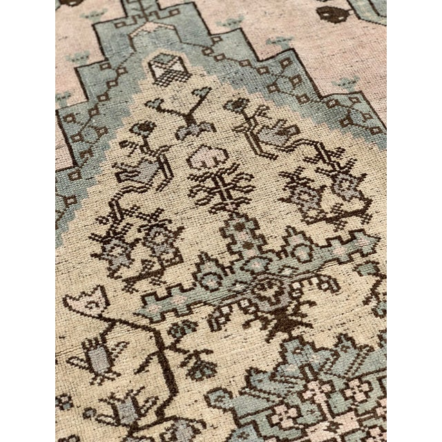 "Textile 1950's Vintage Turkish Oushak Wool Rug - 4'8"" x 8'1"" For Sale - Image 7 of 13"