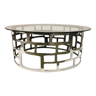 Interlude Home Modern Nickel Cut Out Cocktail Table For Sale