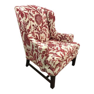 Pair of Wingback Chairs in Brunschwig & Fil Crewel Upholstery