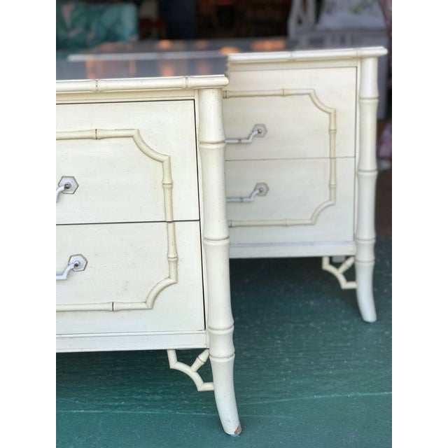 Cream Vintage Dixie Faux Bamboo Fretwork Nightstands-A Pair For Sale - Image 8 of 12