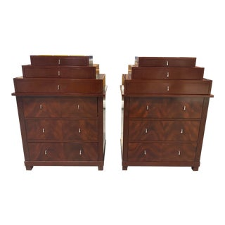 Bolier & Co French Contemporary Multi Tier Mahogany Dressers - a Pair For Sale
