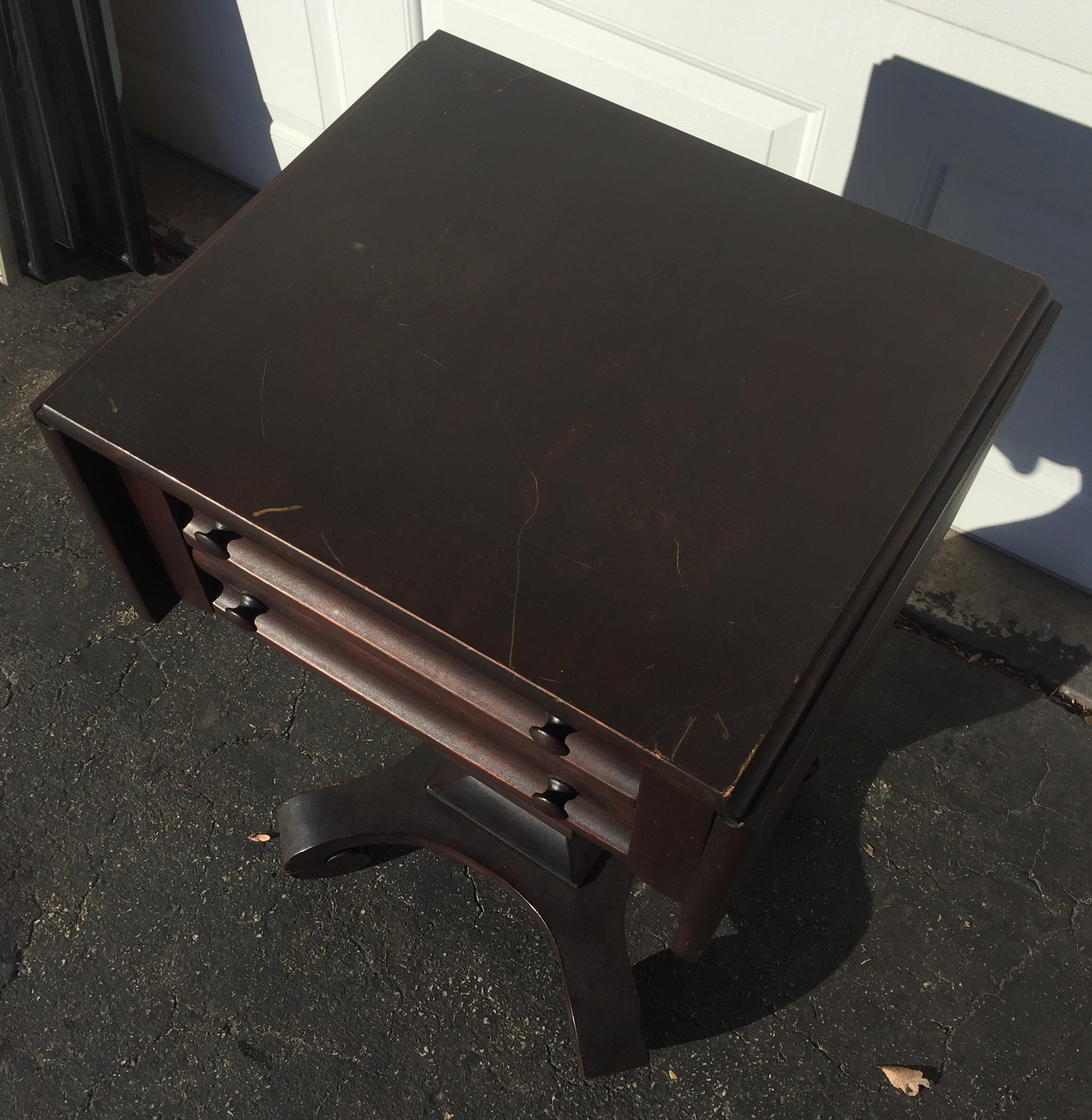 Antique Empire Mahogany Drop Leaf Side Table Chairish