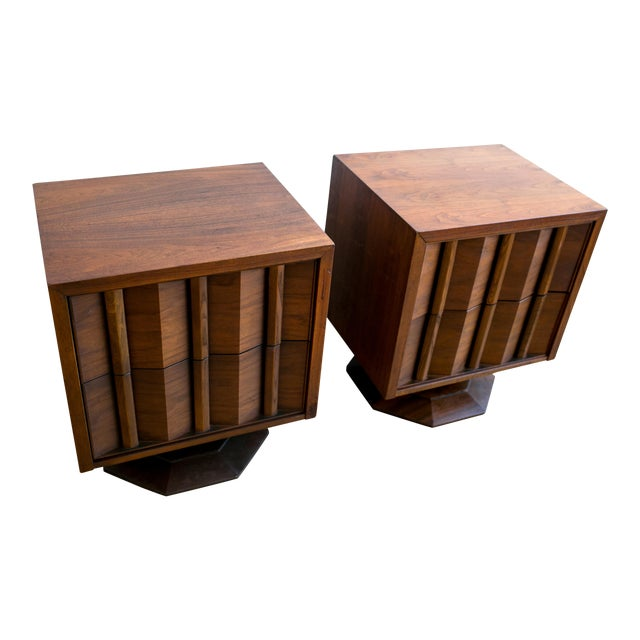 Paul Evans Style Mid-Century Brutalist Pedestal Night Stands- A Pair - Image 1 of 9
