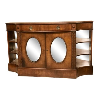 Hollywood Regency Sideboard With Oval Mirrored Doors For Sale